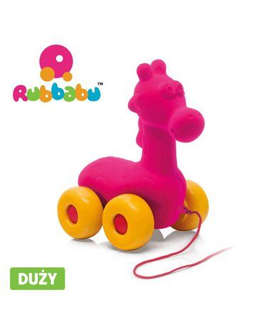 Rubbabu Żyrafa do ciągnięcia sensoryczna różowa
