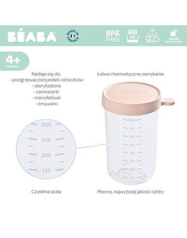 Beaba Pojemnik słoiczek szklany z hermetycznym zamknięciem 400 ml pink