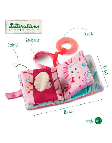 LILLIPUTIENS Mini-książeczka wielofunkcyjna z szeleszczącą folią i gryzakiem Jednorożec Louise 6 m+