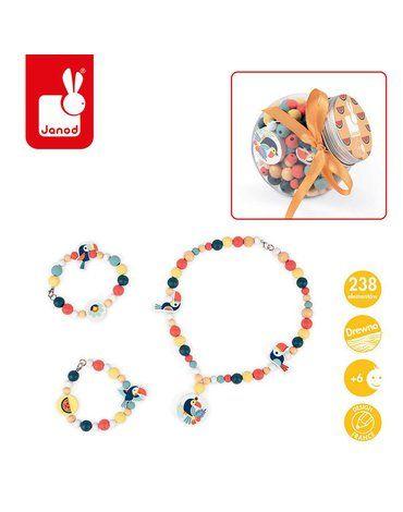 Zestaw do tworzenia biżuterii Drewniane koraliki Tukany, Janod