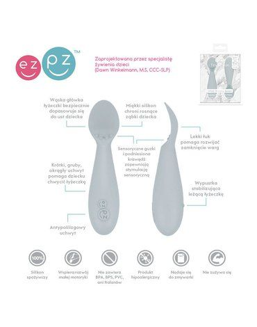 EZPZ Silikonowa łyżeczka Tiny Spoon 2 szt. pastelowa szarość