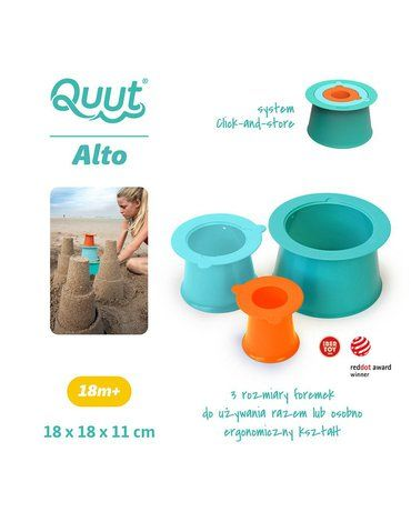 QUUT Zestaw 3 foremek do piasku Wieża Alto Lagoon Green + Vintage Blue + Mighty Orange Quut