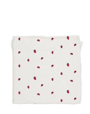 Baby Bites Pieluszka muślinowa 120 x 120 cm Strawberries White