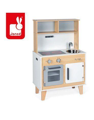 Duża kuchnia drewniana z naklejkami do indywidualnego ozdabiania My Style, Janod