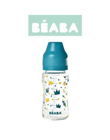 Beaba Butelka szklana szerokootworowa 240 ml Yellow / Blue Crown