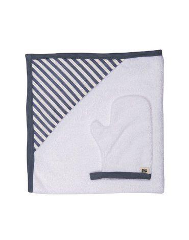 Baby Bites Ręcznik z kapturkiem 85 x 85 cm + myjka Sailor Blue