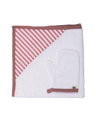 Baby Bites Ręcznik z kapturkiem 85 x 85 cm + myjka Sailor Pink
