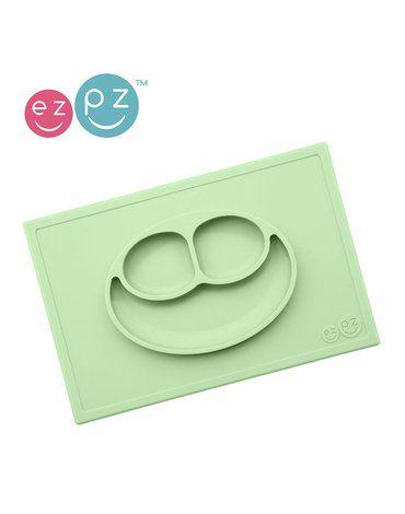 EZPZ - Silikonowy talerzyk z podkładką 2w1 Happy Mat pastelowa zieleń