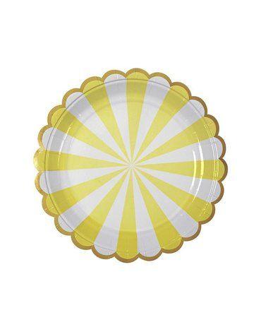 Meri Meri - Małe talerzyki Paski żółte