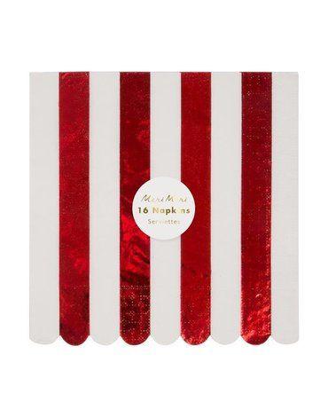 Meri Meri - Duże serwetki Paski świecące biało-czerwone