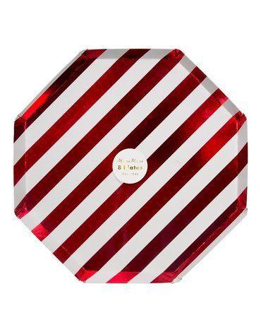 Meri Meri - Duże talerze Paski świecące biało-czerwone