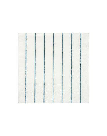 Meri Meri - Małe serwetki Paski holograficzne niebieskie