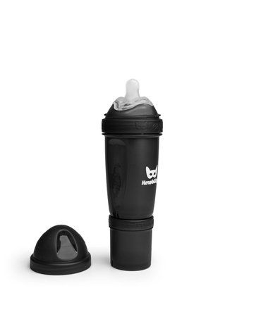 Herobility - butelka antykolkowa Herobottle 240 ml, czarna + smoczek M (2 m+)