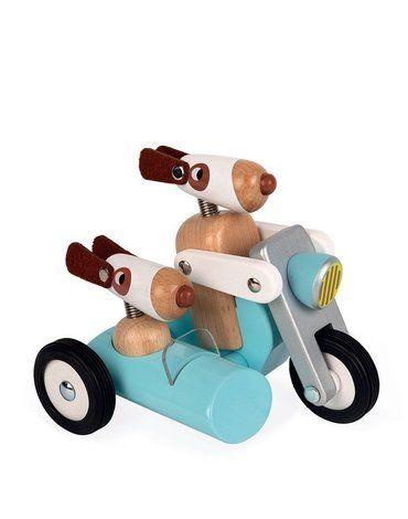 Janod - Drewniany motocykl z bocznym wózkiem w stylu retro Spirit Philip