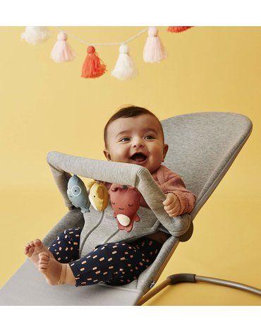 BABYBJORN - leżaczek BLISS 3D Jersey - Jasny Szary + Zabawka