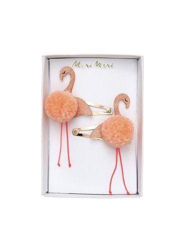 Meri Meri - Spinki do włosów Flamingi z pomponami