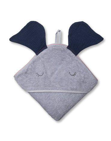 Hi Little One - Ręcznik z kapturem 100 x 100 ELEPHANT hooded bath towel Navy