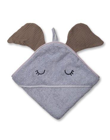 Hi Little One - Ręcznik z kapturem 100 x 100 ELEPHANT hooded bath towel Dark Oak Light