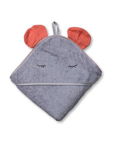Hi Little One - Ręcznik z kapturem 100 x 100 MOUSE hooded bath towel Salmon