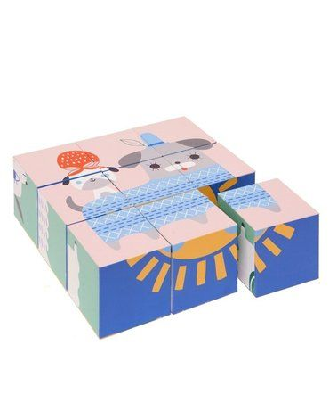 Petit Monkey - Peanut & Friends - klocki puzzle 9 elementów