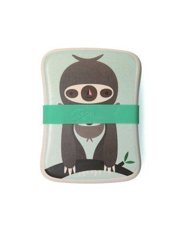 Petit Monkey -  ECO Śniadaniówka bambusowa Leniwiec Mint