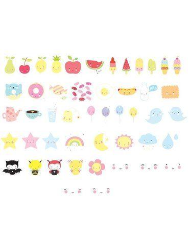 A Little Lovely Company - Litery do Lightboxa zestaw Kawaii