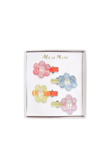 Meri Meri - Spinki do włosów Kwiaty z perełką