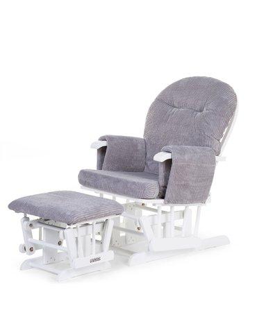 CHILDHOME - Fotel pływający zaokrąglony z podnóżkiem welwet White/Grey