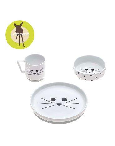 Lassig Komplet naczyń z porcelany Little Chums Kot