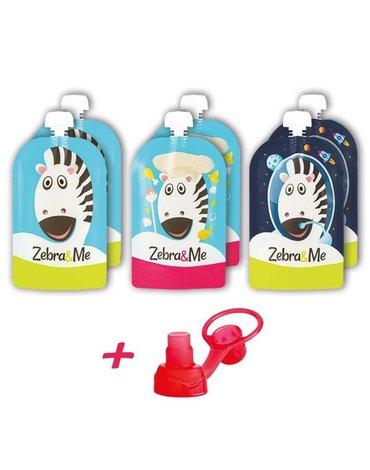 Zebra & Me - 6 PACK Saszetki do karmienia wielorazowe