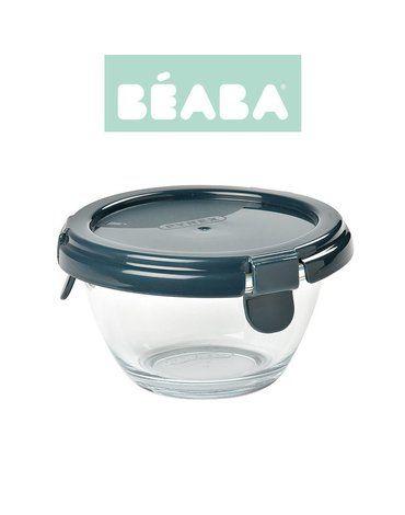 BEABA Okrągły pojemnik słoiczek szklany Pyrex z hermetycznym zamknięciem 200 ml dark blue
