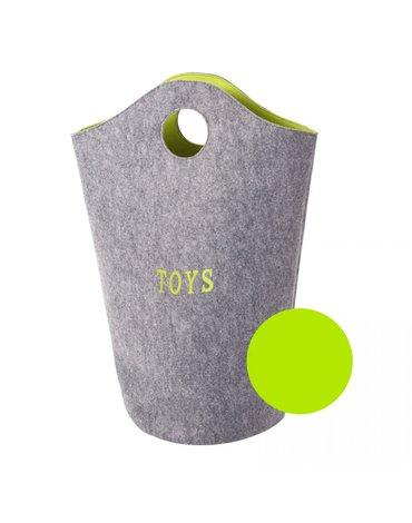 CHILDHOME - Filcowa torba na zabawki szary i limonka 31x32x72