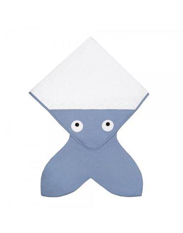 Baby Bites Ręcznik z kapturkiem Rekinek 75 x 75 cm szaroniebieski