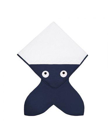 Baby Bites Ręcznik z kapturkiem Rekinek 75 x 75 cm ciemnoniebieski