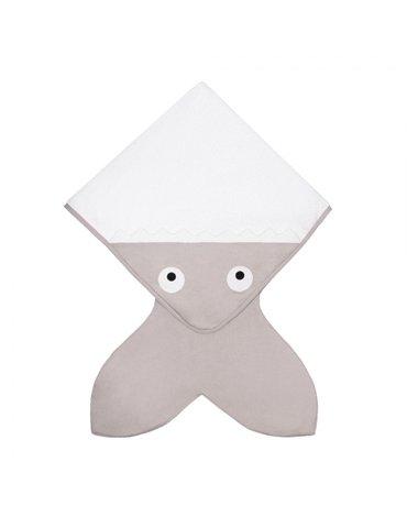 Baby Bites Ręcznik z kapturkiem Rekinek 75 x 75 cm szary