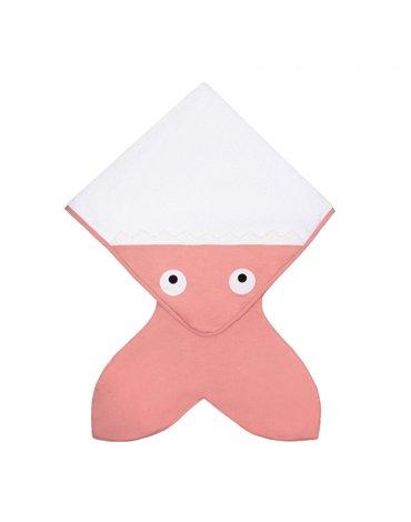 Baby Bites Ręcznik z kapturkiem Rekinek 75 x 75 cm różowy