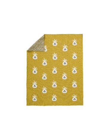 Fresk Tkany kocyk z bawełny organicznej 100 x 150 cm Ananas Mustard