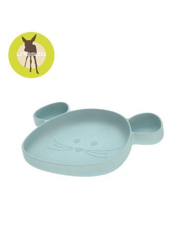 Lassig Talerz silikonowy z przyssawką Little Chums Mysz niebieski
