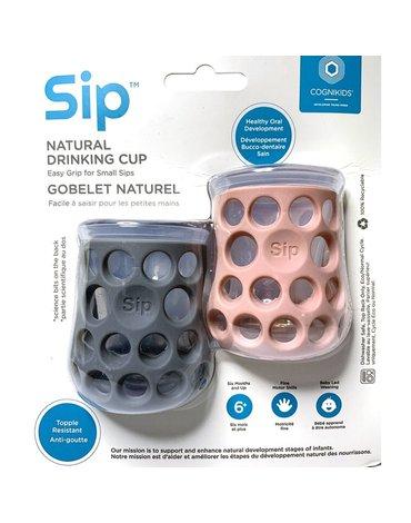 CogniKids Sip® – Natural Drinking Cup 2 sensoryczne kubeczeki do nauki picia dla niemowląt Slate/Blush