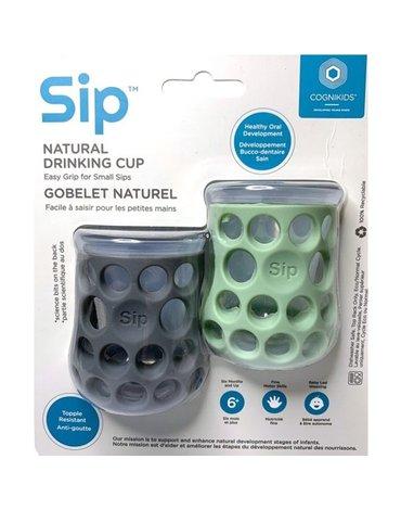 CogniKids Sip® – Natural Drinking Cup 2 sensoryczne kubeczeki do nauki picia dla niemowląt Slate/Sage