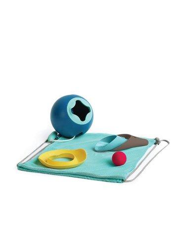 QUUT Set plażowy wiaderko Mini Ballo + 2 łopatki z piłeczką Cuppi + foremka Magic shaper Heart w worku, edycja limitowana