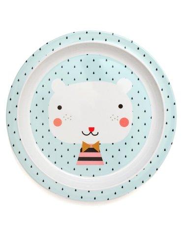 Petit Monkey - talerz płaski z melaminy Miś i Krople