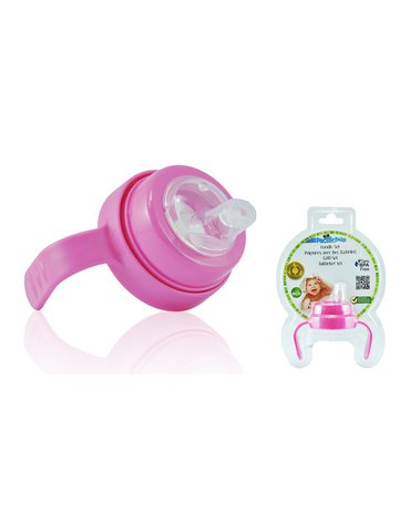 Uchwyt z miękkim ustnikiem do butelki Pacific Baby -  różowy
