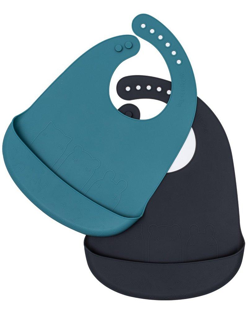 Zestaw śliniaków silikonowych z kieszonką We Might Be Tiny - Blue Dusk + Charcoal