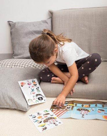Zestaw naklejek z 2 planszami Apli Kids - Sawanna