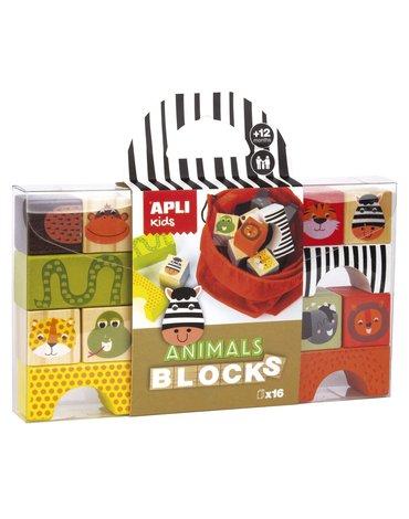 Drewniane klocki z woreczkiem Apli Kids - Zwierzęta