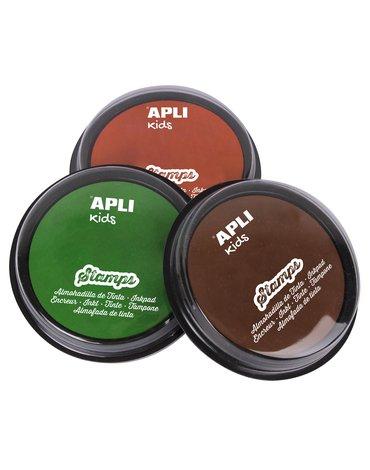 Zestaw tuszy do stempli Apli Kids - Zielony/Pomarańczowy/ Brązowy