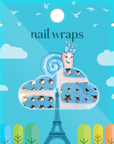 Naklejany lakier Nail Wraps Snails - Blue Stars