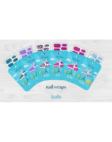 Naklejany lakier Nail Wraps Snails - Pink Stars