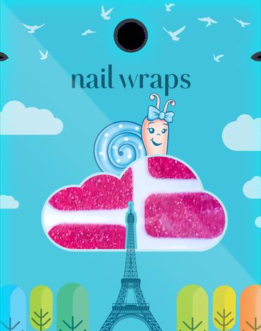 Naklejany lakier Nail Wraps Snails - Red Carpet